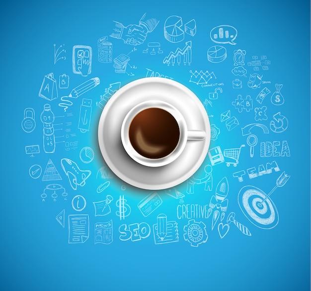 Achtergrond met een verse koffie op tafel met pictogrammen Premium Vector