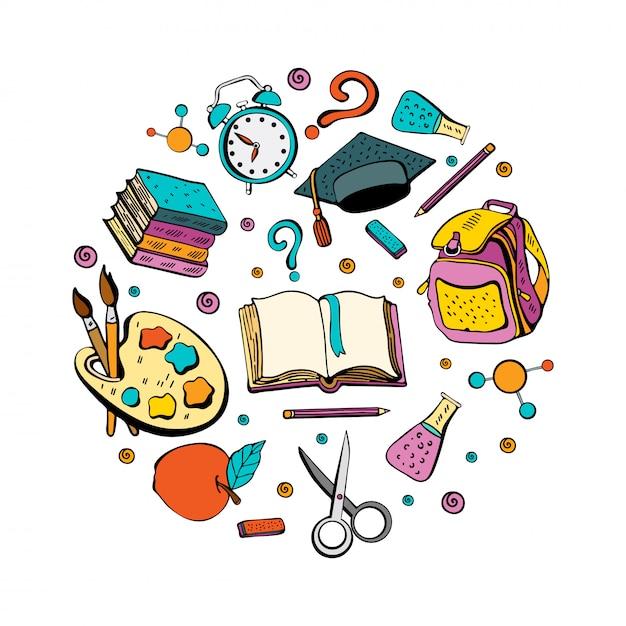 Achtergrond met een verzameling van verschillende schoolvakken voor studie. Premium Vector