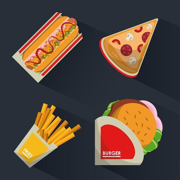 Achtergrond met fast food burguer en hotdog en pizza en frietjes Premium Vector