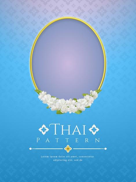 Achtergrond met frame en mooie jasmijnbloem. modern lijn thais traditioneel ontwerp Premium Vector