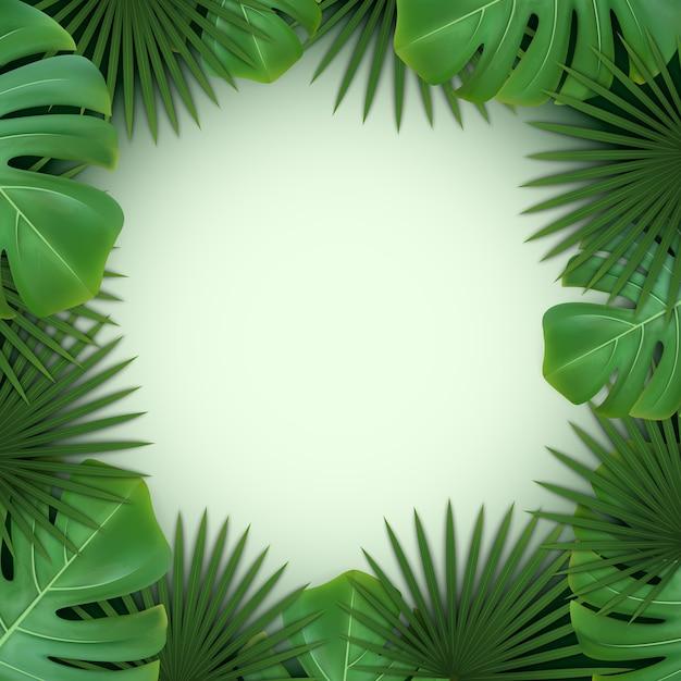 Achtergrond met frame van groene tropische bladeren van palm en monstera. Premium Vector
