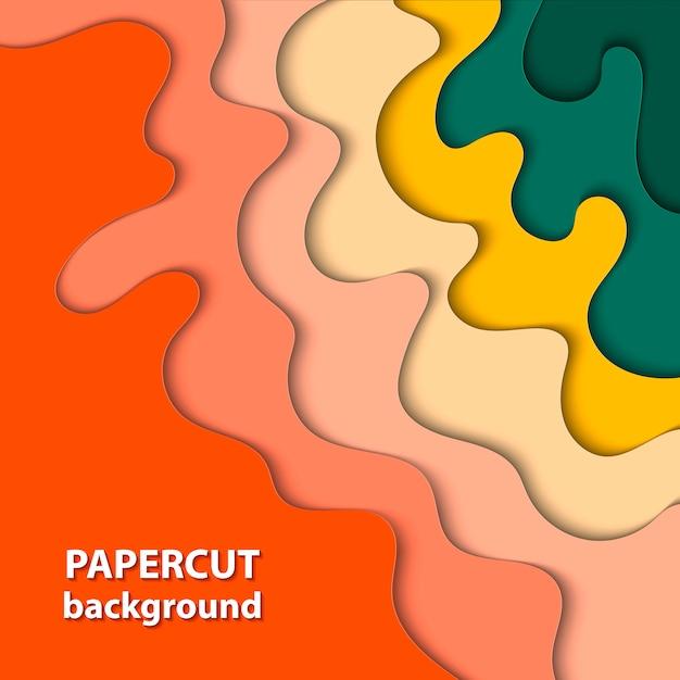 Achtergrond met gele, rode en groene papiersnit Premium Vector