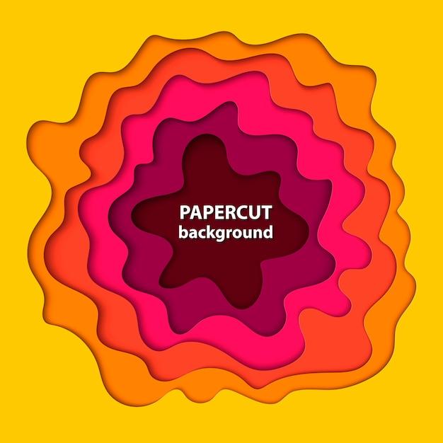 Achtergrond met gele, roze en oranje papier gesneden Premium Vector
