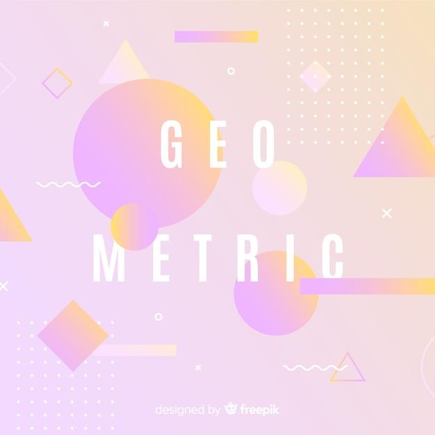 Achtergrond met geometrische kleurovergangen Gratis Vector