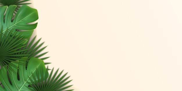 Achtergrond met groene tropische bladeren van palm en monstera. Premium Vector