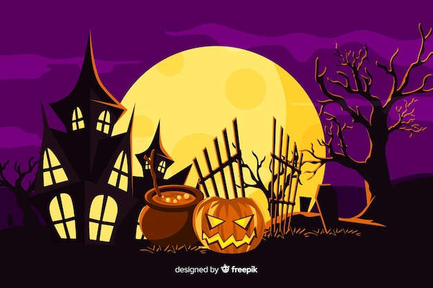 Achtergrond met halloween plat ontwerp Gratis Vector