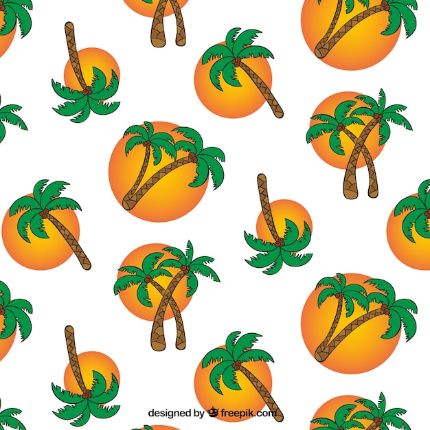 Achtergrond met handgetekende palmbomen en cirkels Gratis Vector