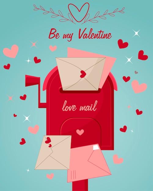 Achtergrond met harten brievenbus met liefdespost en ansichtkaarten. valentijnsdag Premium Vector