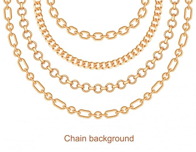 Achtergrond met kettingen gouden metalen ketting Premium Vector