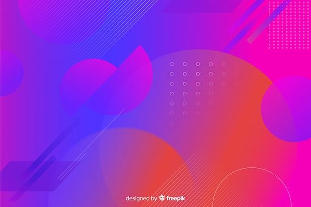 Achtergrond met kleurovergang geometrische vormen in memphis stijl Gratis Vector