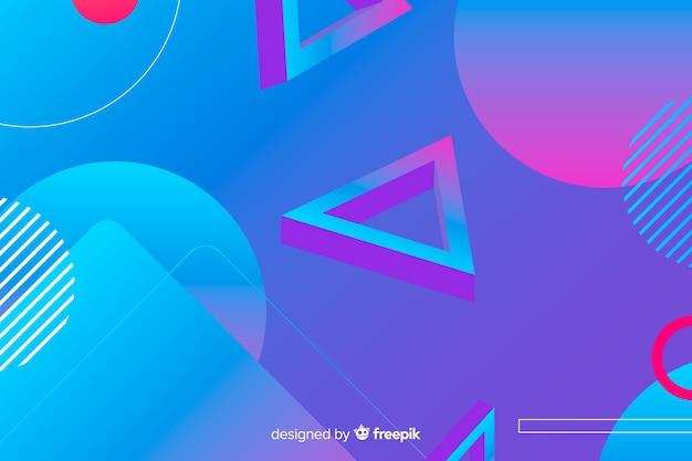 Achtergrond met kleurovergang geometrische vormen Gratis Vector