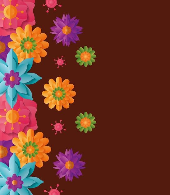 Achtergrond met kleurrijke bloemen Gratis Vector