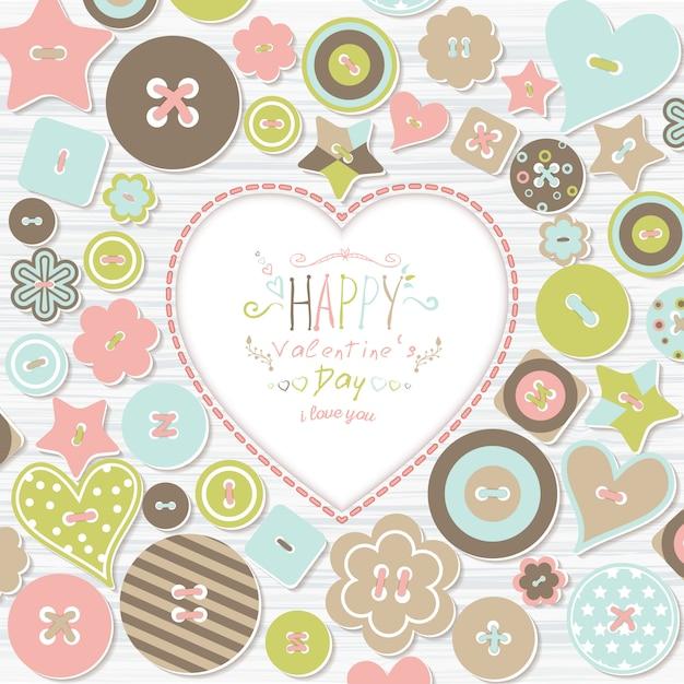 Achtergrond met kleurrijke knoppen van verschillende vormen en tekst happy valentine's day Premium Vector