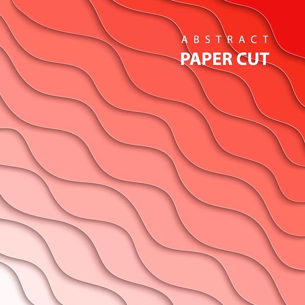 Achtergrond met koraal kleurverloop papier knippen Premium Vector