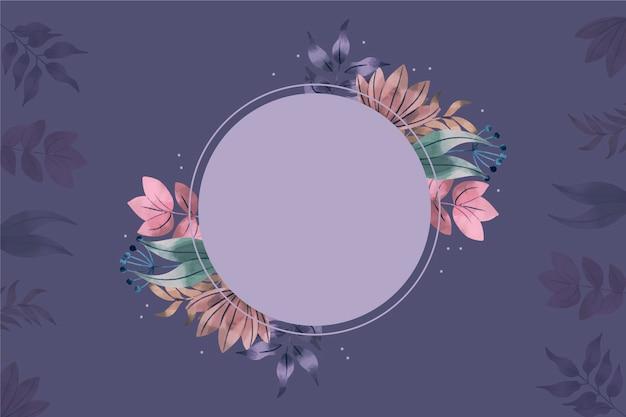 Achtergrond met lege badge en winter bloemen Gratis Vector
