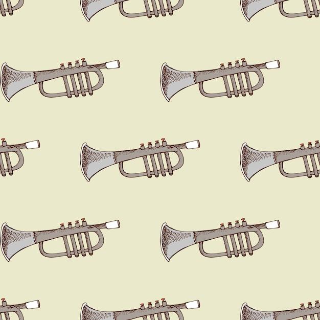 Achtergrond met muziekinstrument trompet. concert en feest, Gratis Vector