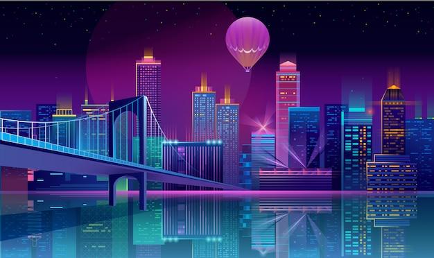 Achtergrond met nacht stad in neonlichten Gratis Vector