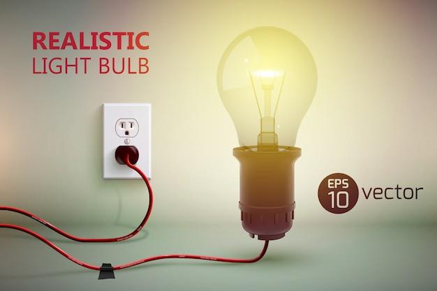 Achtergrond met realistische glanzende gloeilamp op draad aangesloten lamp en stopcontact op verloop muur illustratie Gratis Vector