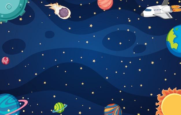 Achtergrond met ruimteschip en veel planeten in de ruimte Premium Vector