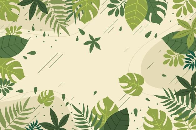 Achtergrond met tropische bladeren ontwerp Gratis Vector
