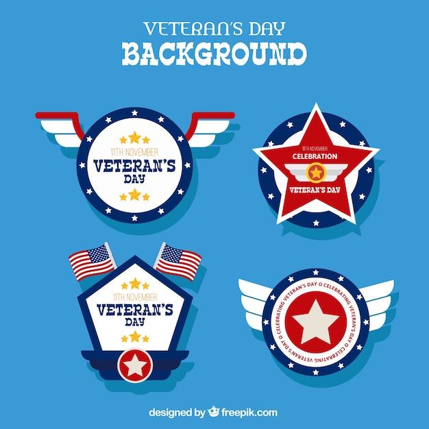 Achtergrond met verschillende badges voor veteranen dag Gratis Vector