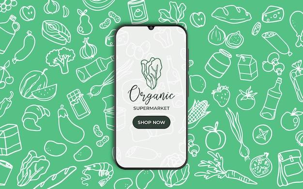 Achtergrond met voedsel en smarthphone voor supermarkt Gratis Vector