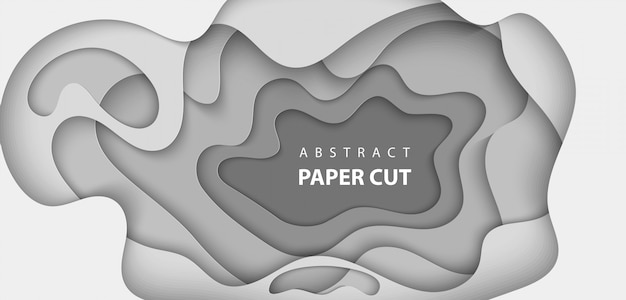 Achtergrond met witte en grijze kleur papier gesneden Premium Vector