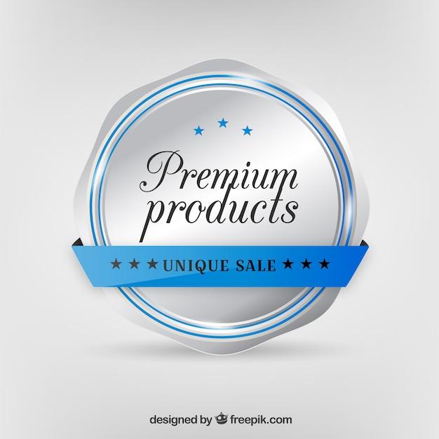 Achtergrond met zilveren insignes van premium producten Gratis Vector