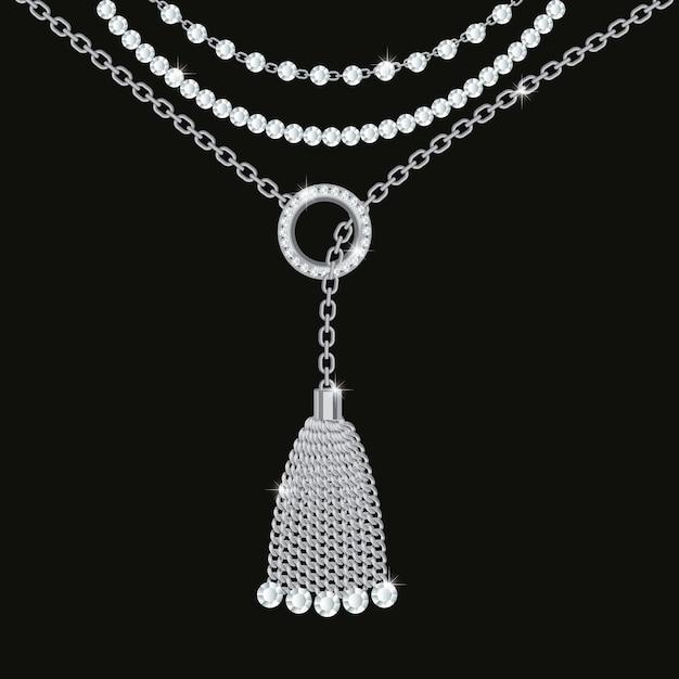 Achtergrond met zilveren metalen ketting. kwastje, edelstenen en kettingen. Premium Vector