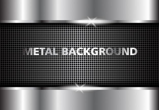 Achtergrond metaal zilver, donker abstract zilver Premium Vector