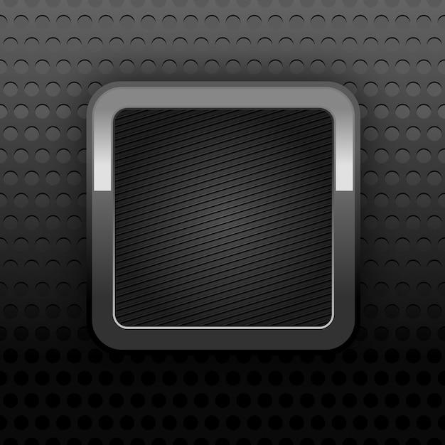 Achtergrond perforatie textuur met metalen knop Premium Vector