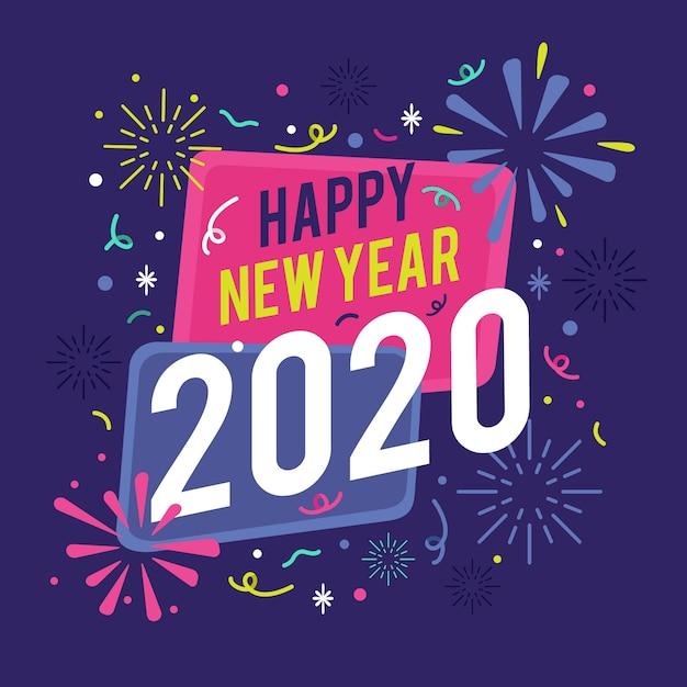 Achtergrond plat ontwerp nieuw jaar Gratis Vector