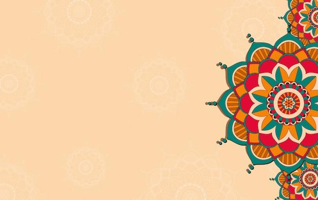 Achtergrond sjabloon met mandala patroonontwerp Gratis Vector