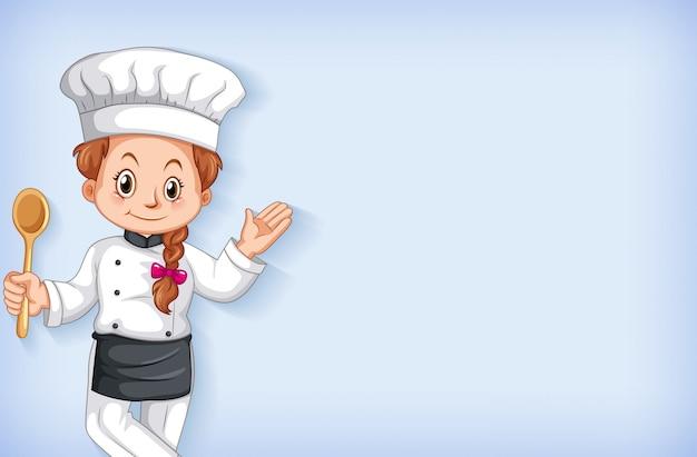 Achtergrond sjabloonontwerp met gelukkige chef-kok glimlachen Gratis Vector