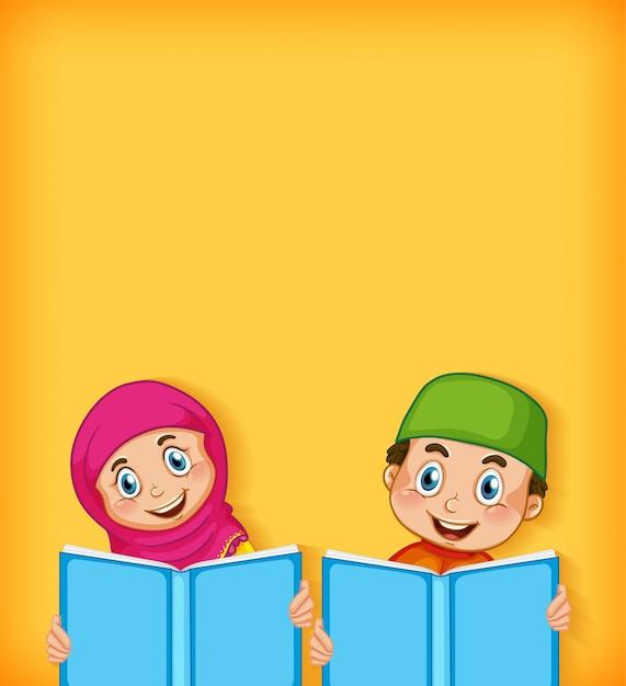 Achtergrond sjabloonontwerp met gelukkige moslimjongen en meisjeslezing Gratis Vector