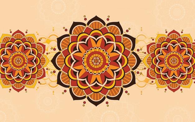 Achtergrond sjabloonontwerp met mandala patronen Gratis Vector