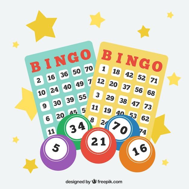 Achtergrond van bingo ballen met cijfers Gratis Vector