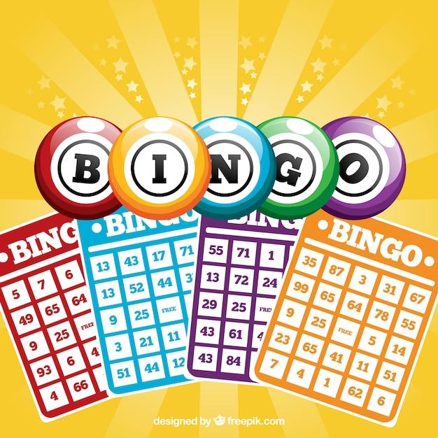 Achtergrond van bingo kaarten Gratis Vector