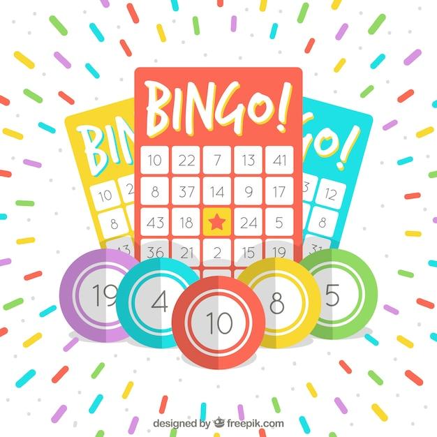 Achtergrond van bingo stembiljetten met kleurrijke strepen Gratis Vector