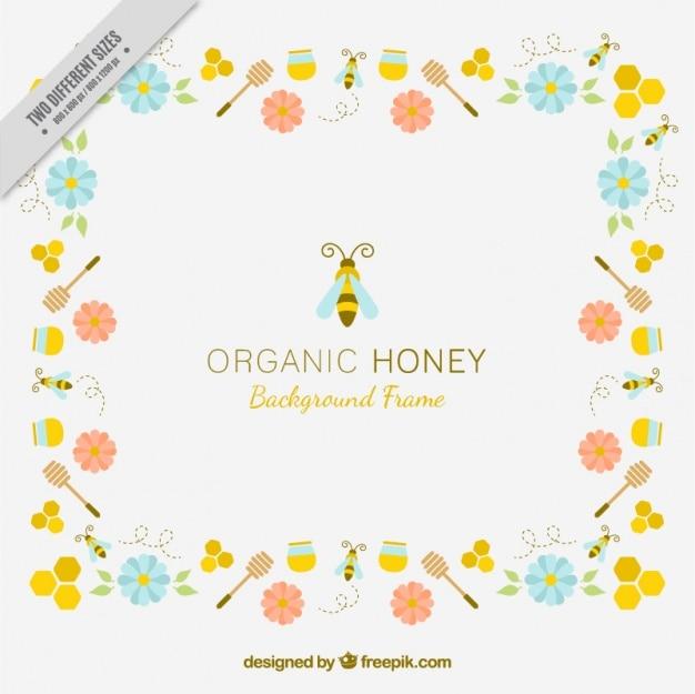 Achtergrond van biologische honing met bloemen en bijen Gratis Vector