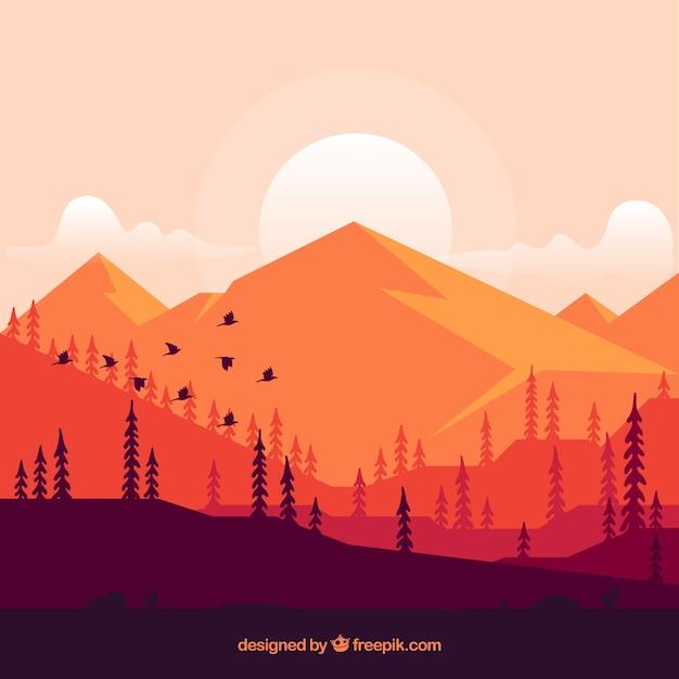 Achtergrond van de bergen bij zonsondergang Gratis Vector