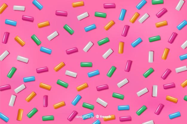 Achtergrond van de doughnut de roze smaakvolle glans Premium Vector