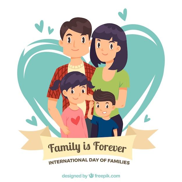 Achtergrond van de familie met twee kinderen Premium Vector