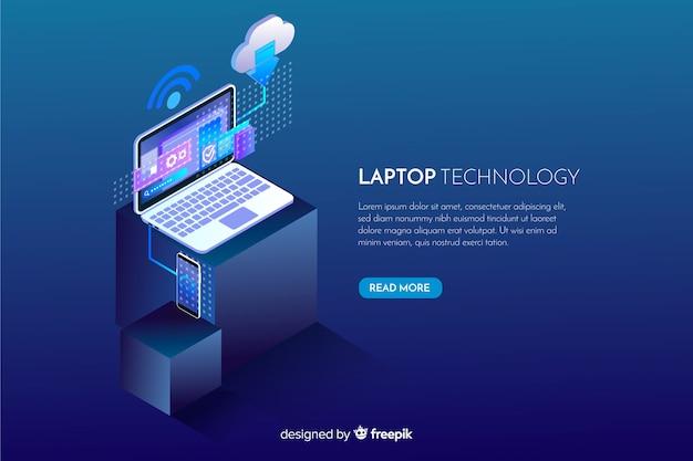 Achtergrond van de gradiënt de isometrische laptop technologie Gratis Vector