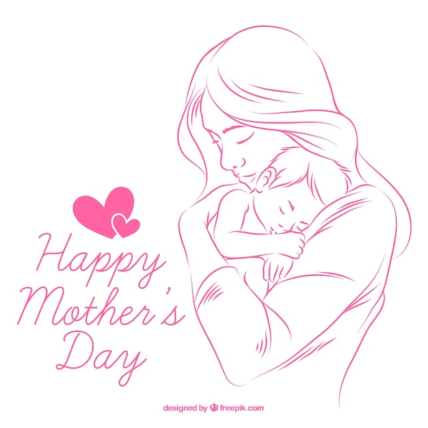 Achtergrond van de hand getekende moeder met baby Gratis Vector