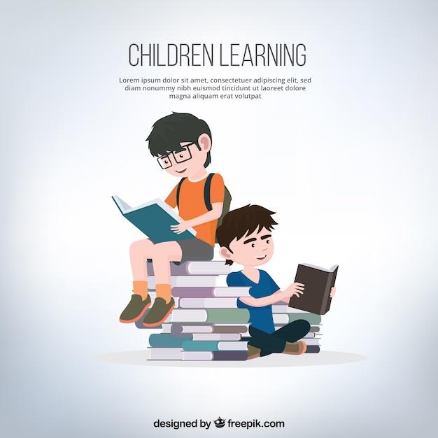 Achtergrond van de jongens het lezen van boeken Gratis Vector