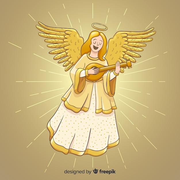 Achtergrond van de kerstmisengel van de zanger de gouden Gratis Vector