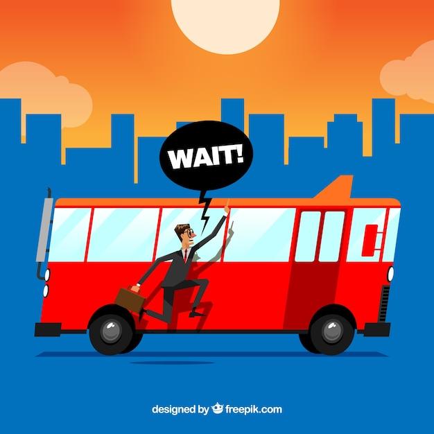 Achtergrond van de mens die achter een rode bus loopt Gratis Vector