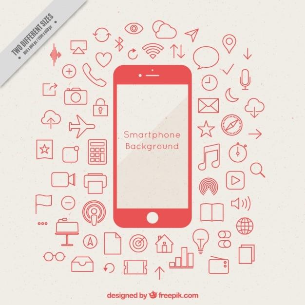 Achtergrond van de mobiele met pictogrammen schetsen Gratis Vector