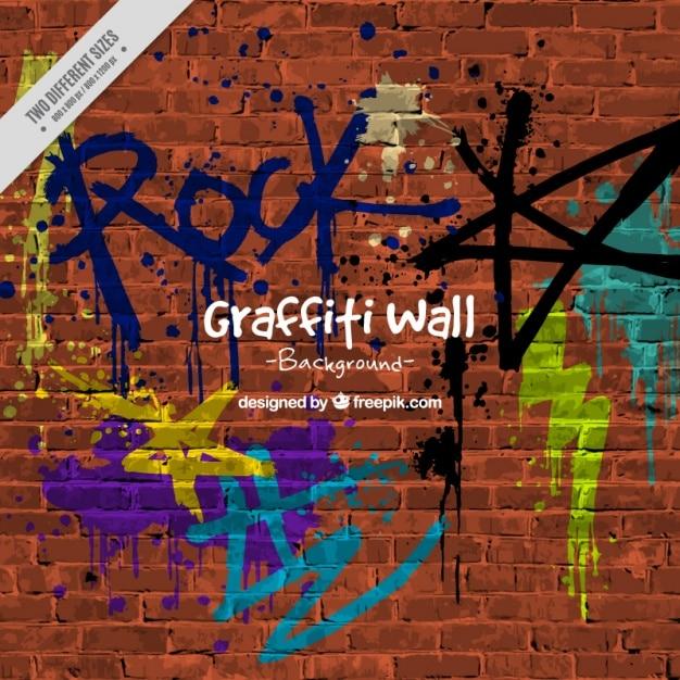 Achtergrond van de muur met graffiti Premium Vector